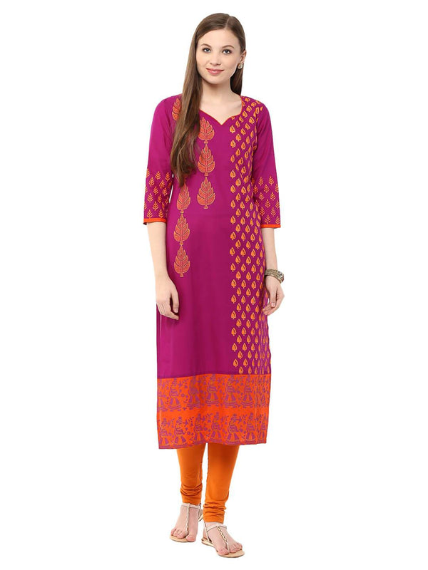 Magenta Ajrakh Hand Blocked Straight Cotton Kurta With Minimal Foil Printing