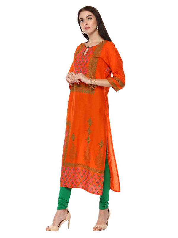 Orange And Green Ajrakh Hand Block Cotton Printed Straight Kurta