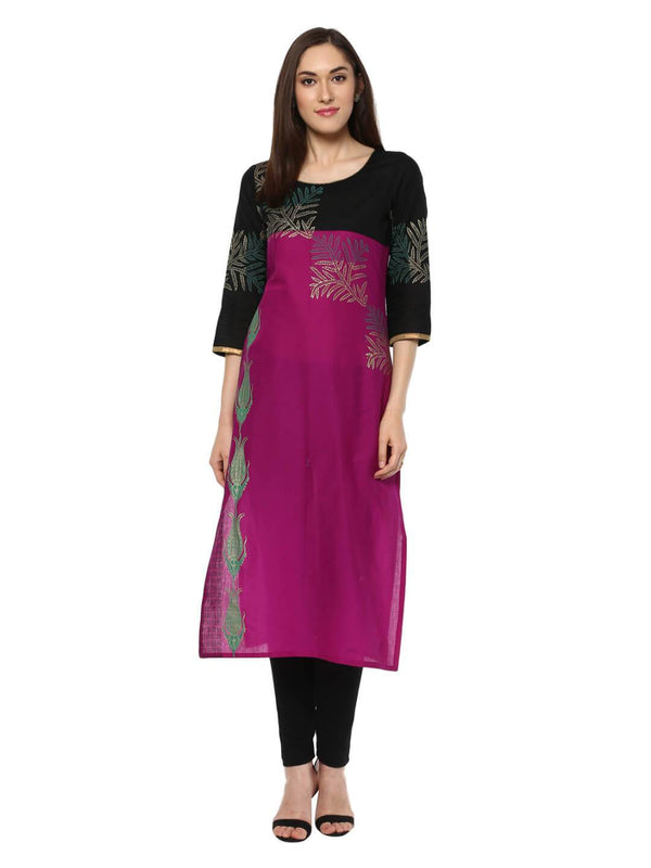 Magenta And Black Ajrakh Hand Block Cotton Printed Straight Kurta