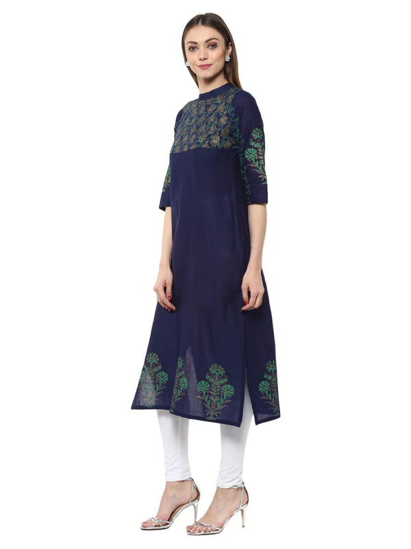 Navy Blue Floral Ajrakh Hand Block Cotton Printed Straight Kurta