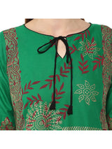 Green Floral  Ajrakh Hand Block Cotton Printed Straight Kurta