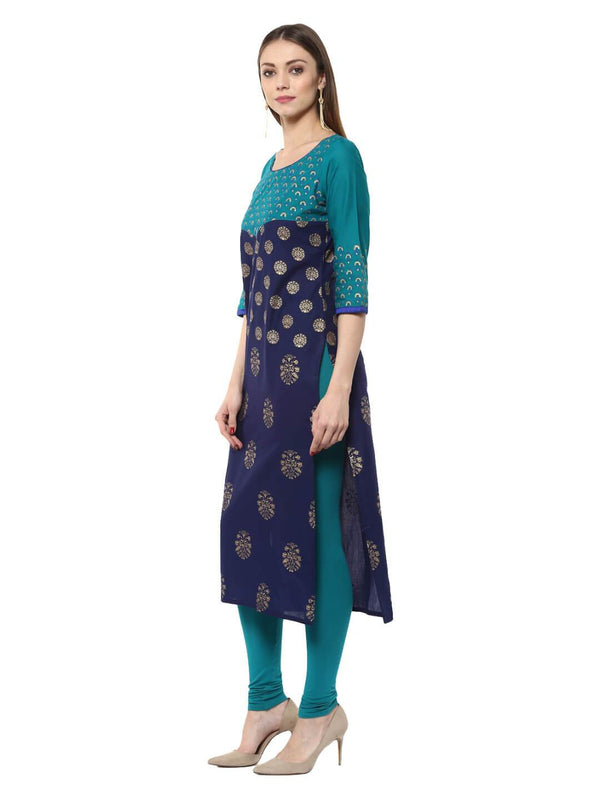 Indigo and Turquoise Floral  Ajrakh Hand Block Cotton Printed Straight Kurta