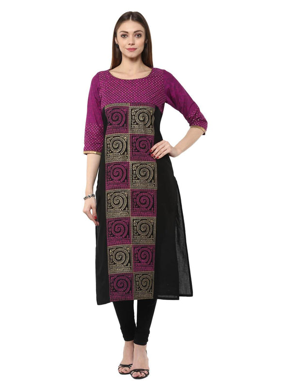 Mauve Tribal Ajrakh Hand Block Cotton Printed Straight Kurta