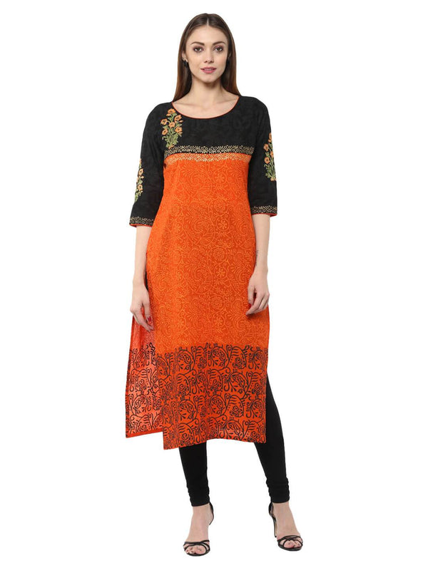 Orange Floral  Ajrakh Hand Block Cotton Printed Straight Kurta