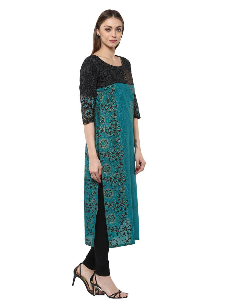 Turquoise Floral  Ajrakh Hand Block Cotton Printed Straight Kurta