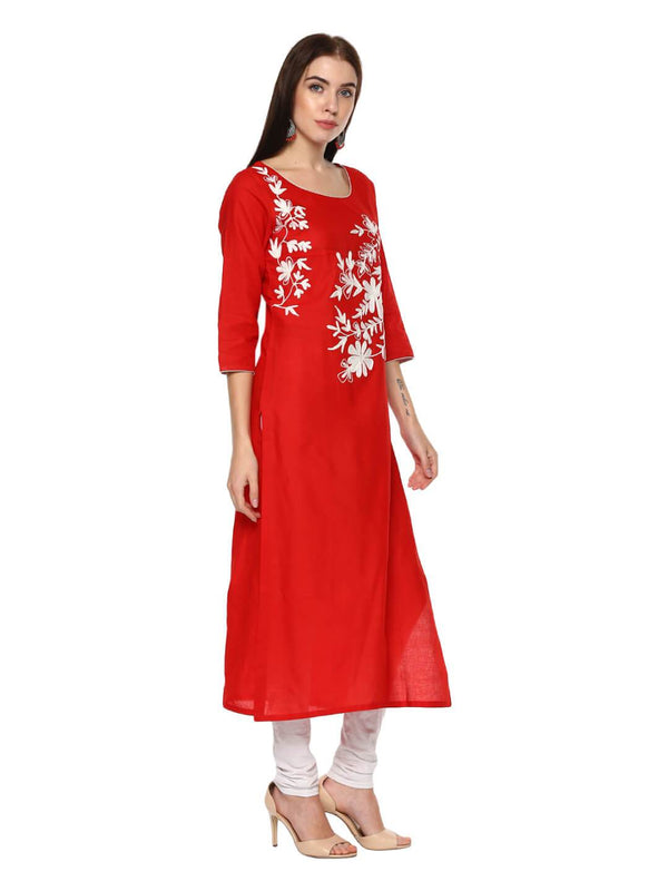 Bright Red Ajrakh Hand Block Cotton Printed Straight Kurta