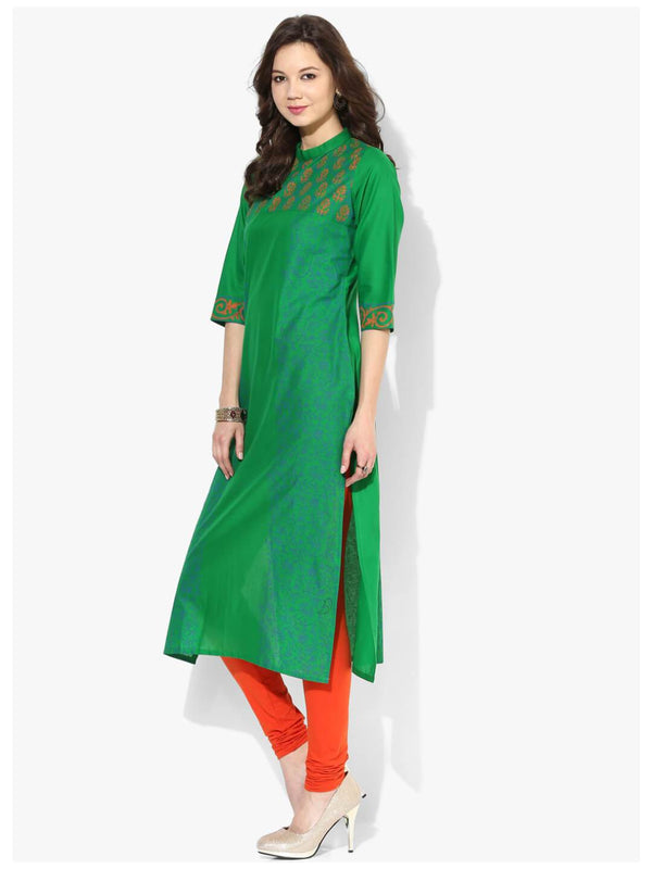 Peacock Green Ajrakh Hand Block Cotton Printed Straight Kurta