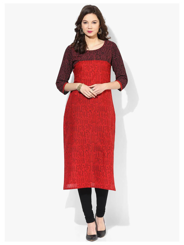 Tribal Red Ajrakh Hand Block Cotton Printed Straight Kurta