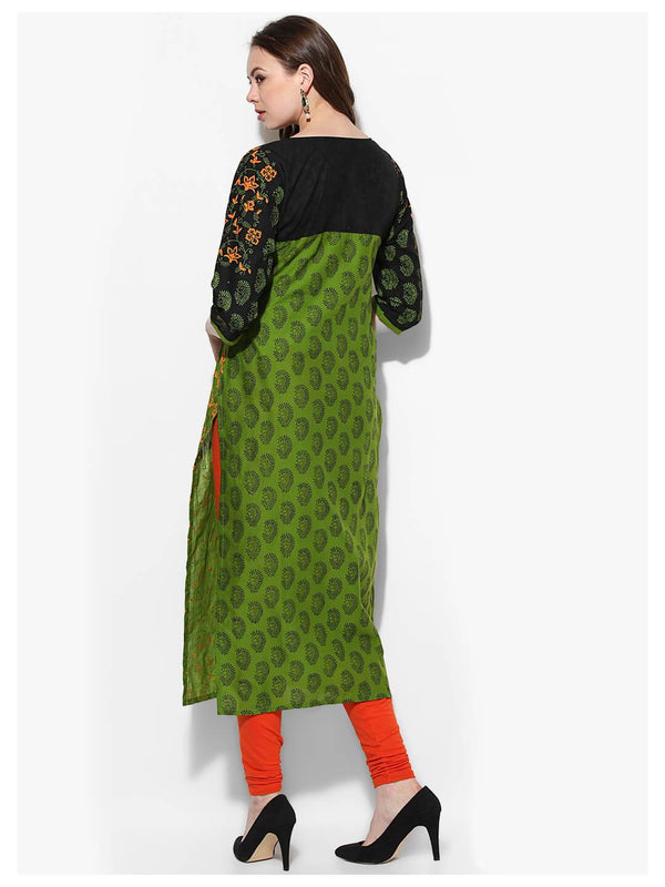 Parrot Green Ajrakh Hand Block Cotton Printed Straight Kurta