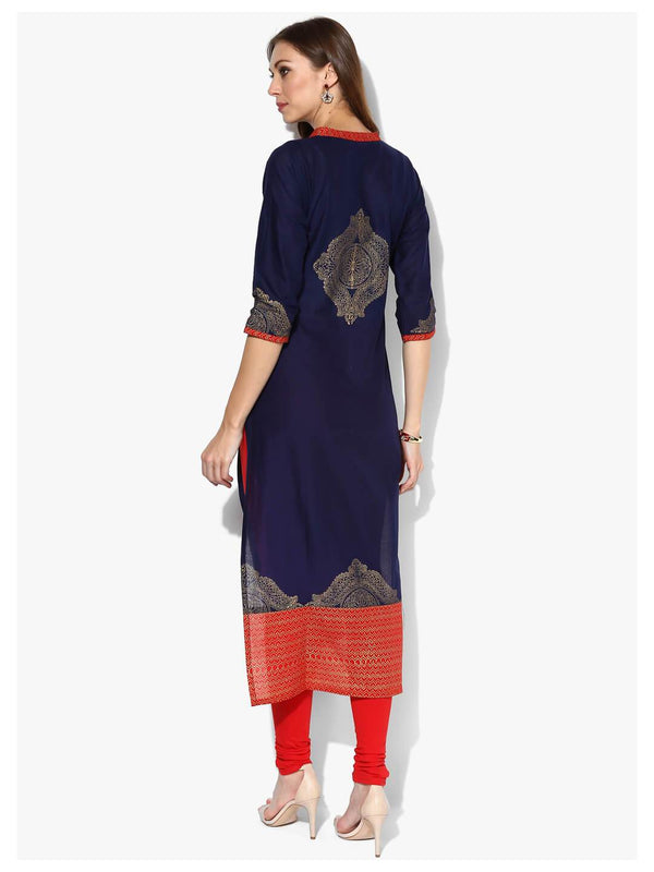 Indigo And Golden Ajrakh Hand Block Cotton Printed Straight Kurta