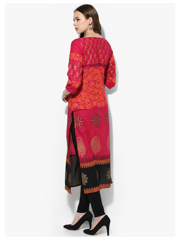 Pink Keyhole Kurta with Ajrakh Hand Block Cotton Print
