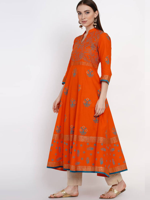 Orange Ajrakh Hand Block Cotton Anarkali with Turquoise Print