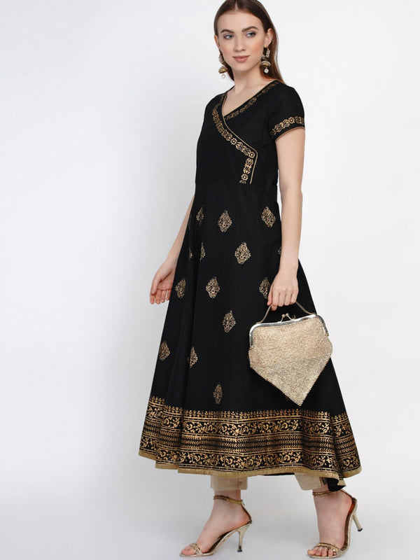 Black Cotton Hand blocked Printed Anarkali with Wrap Detail