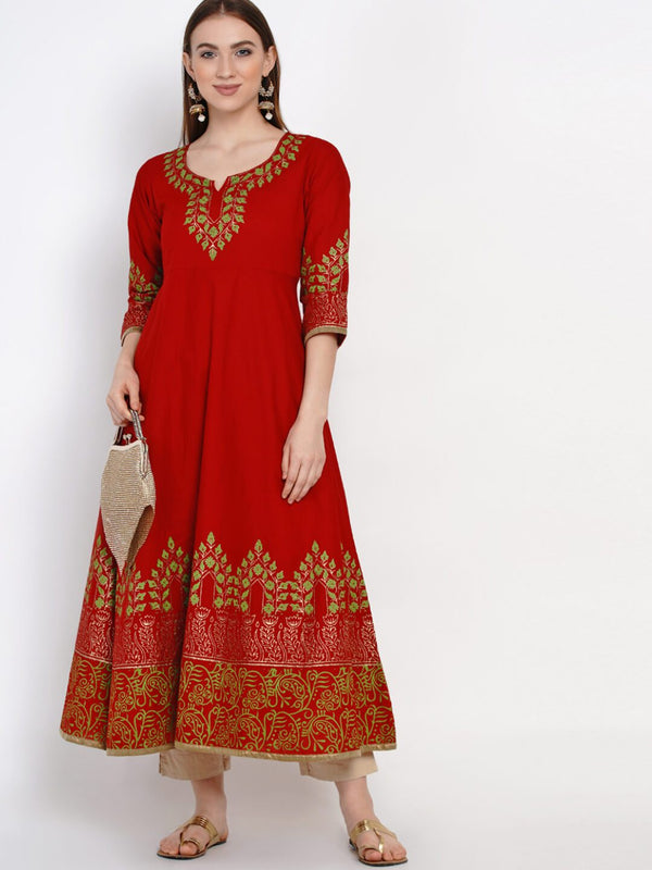 Minimal Red Cotton Handblocked Anarkali