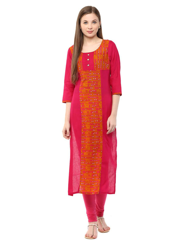 Pink Ajrakh Hand Block Cotton Kurta with Placekt Detail