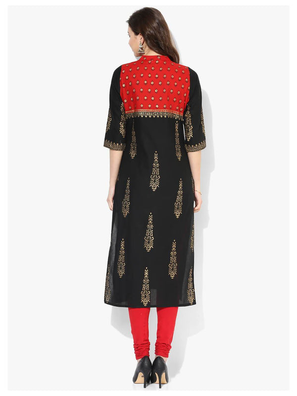 Black and Red Ajrakh Paisley Hand Block Cotton Printed Straight Kurta