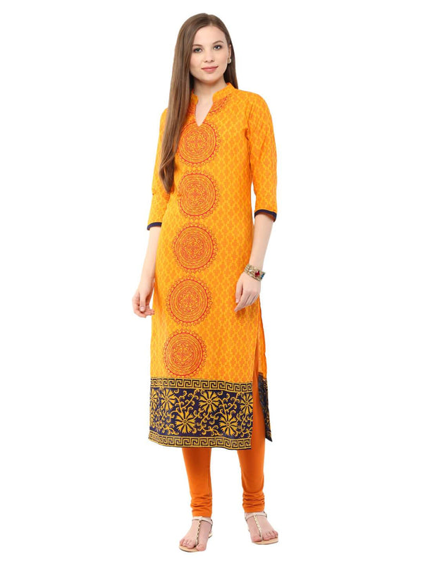 Mustard Ajrakh Hand Block Cotton Printed Straight Kurta