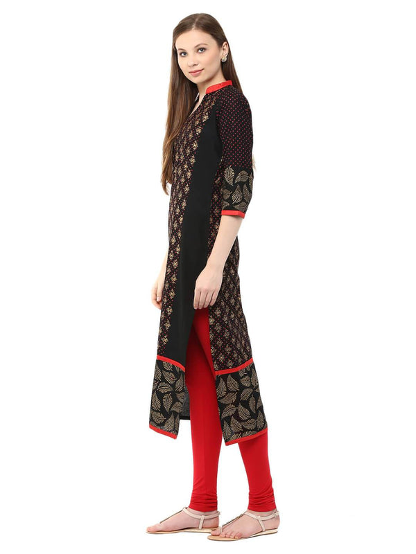 Black And Golden Ajrakh Hand Block Cotton Printed Straight Kurta