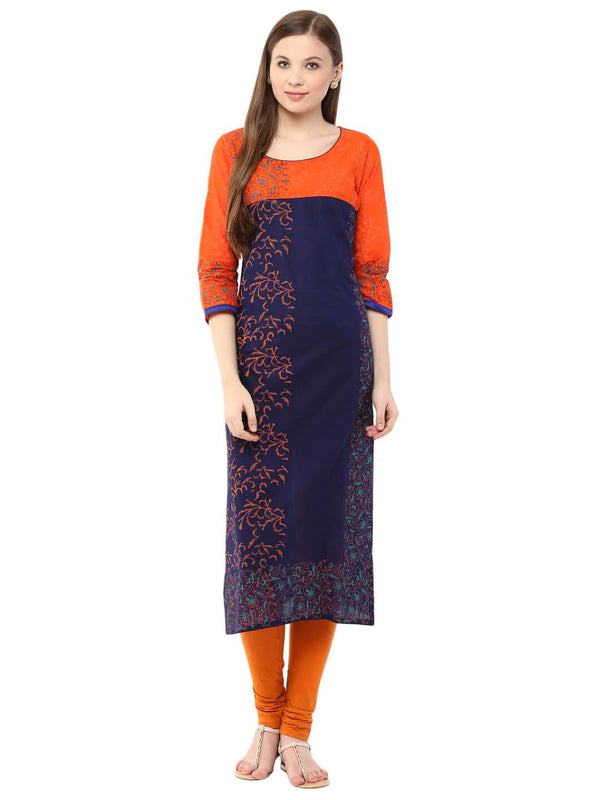Orange And Blue Floral Ajrakh Hand Block Cotton Printed Straight Kurta