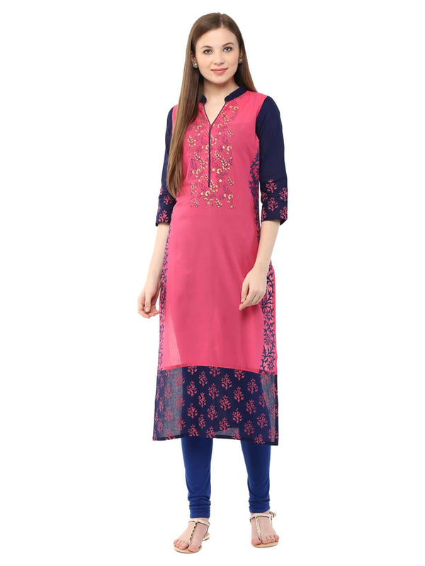 Pink & Blue Floral Ajrakh Hand Block Cotton Printed Straight Kurta