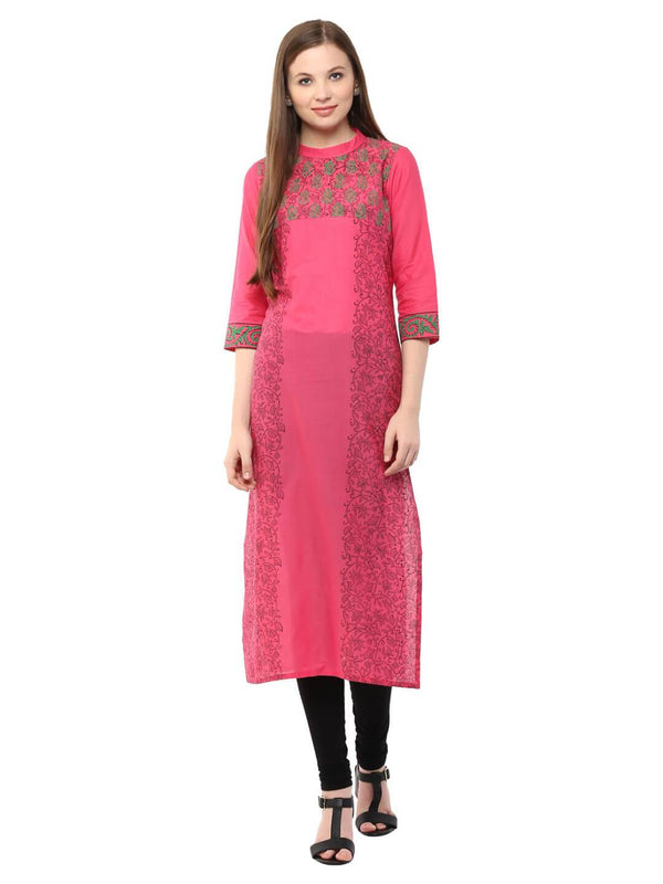 Pink Floral Ajrakh Hand Block Cotton Printed Straight Kurta