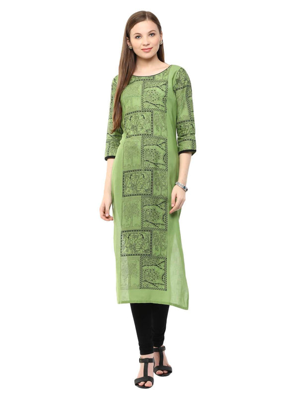 Pastel Green Madhubani Ajrakh Hand Block Cotton Printed Straight Kurta