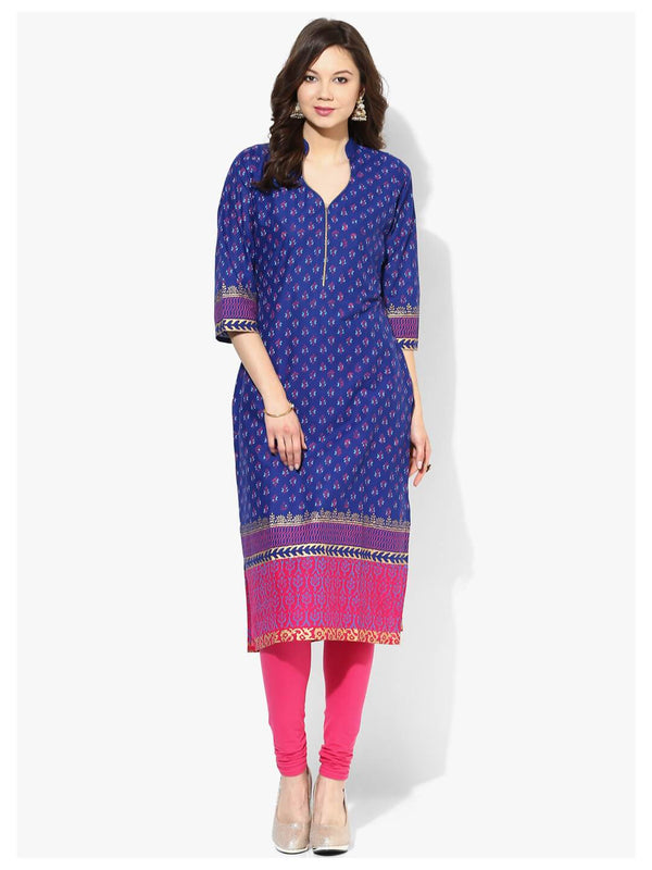Royal Blue Ajrakh Hand Block Cotton Printed Straight Kurta