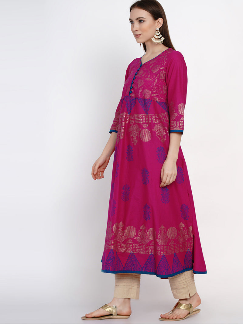 Magenta cotton Anarkali with ajrakh hand block prints