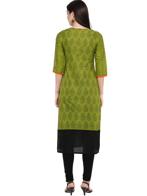 Turtle Green and Black Ajrakh Hand Block Cotton Printed Straight Kurta