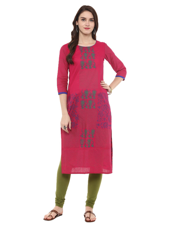 Pink Ajrakh Hand Block Cotton Printed Straight Kurta with Turquoise Floral Prints