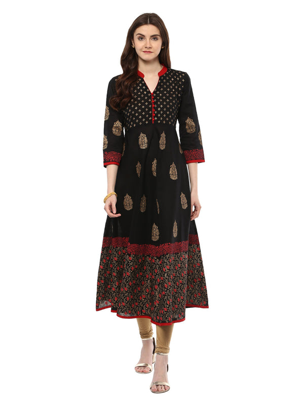 Traditional Black cotton printed Anarkali with ajrakh hand block print