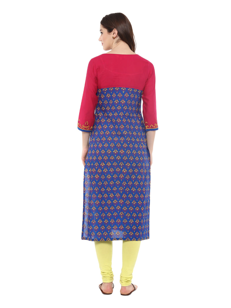 indigo blue ajrakh hand block cotton printed straight Kurta with contrast prints