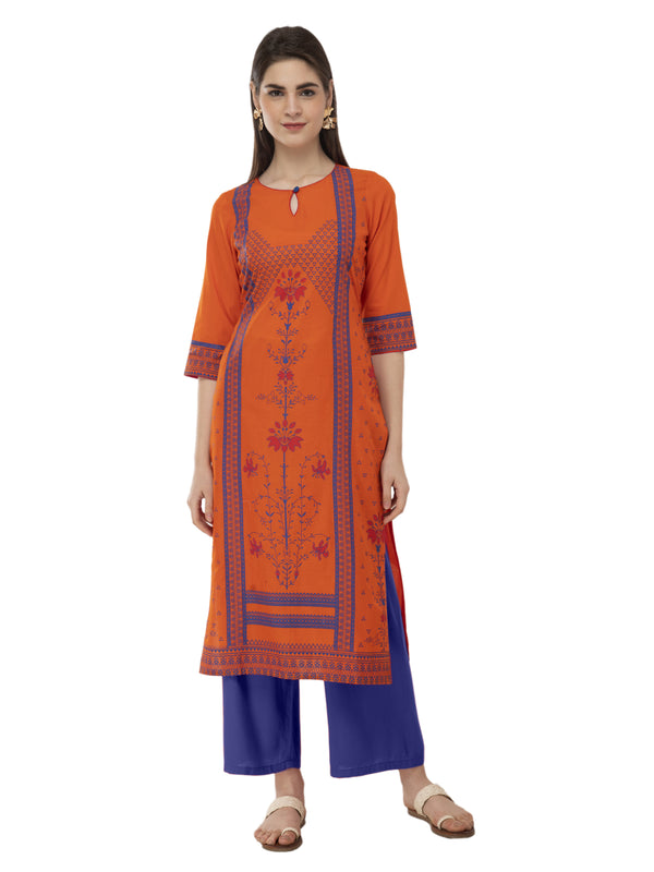 Orange and Blue Ajrakh Hand Block Printed Cotton Straight Kurta
