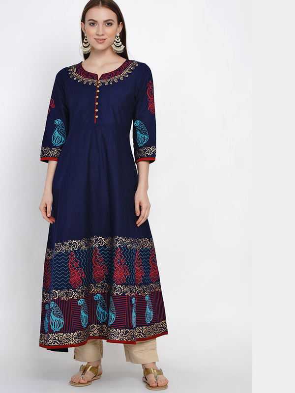 Tribal Coral Blue Cotton Anarkali with Ajrakh Hand Block Print