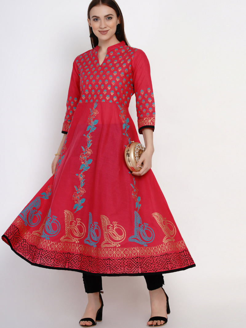 Fuschia Red Festive Ajrakh Hand Block Cotton Printed Anarkali