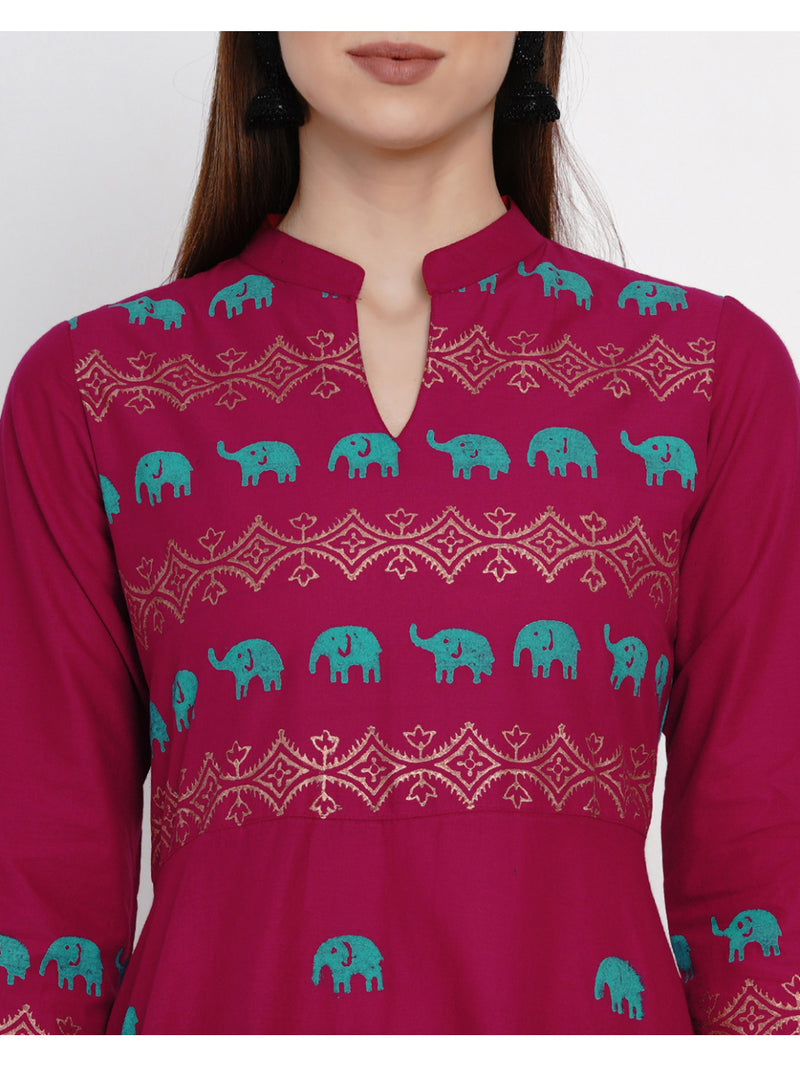 Plum Cotton Anarkali with Ajrakh Hand Block Print