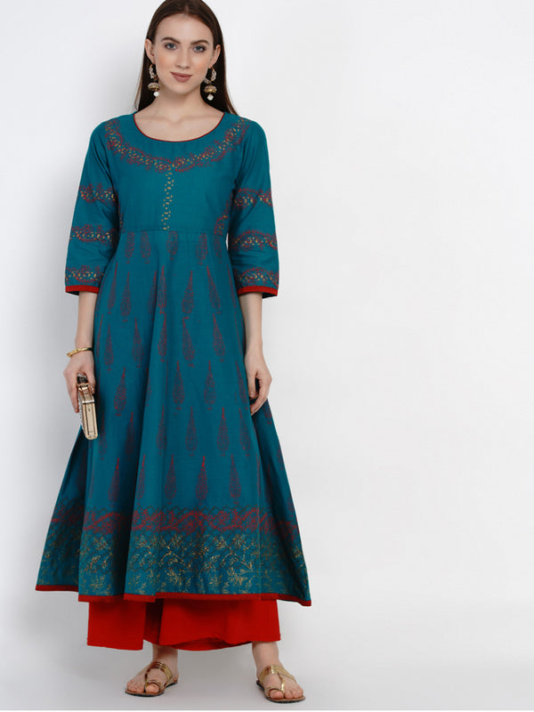 Turquoise Ajrakh Hand Block Cotton Printed Anarkali