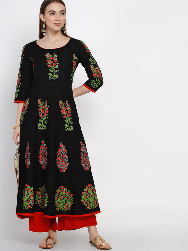 Colorful Black Cotton Printed Anarkali with Ajrakh Hand Block Print