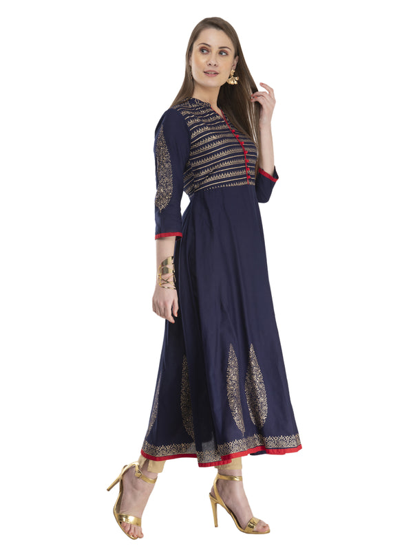 Dark Grey Cotton Anarkali with Ajrakh Hand Block Print