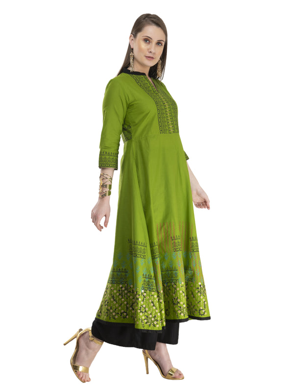 Minimal Olive Green Cotton Anarkali With Ajrakh Hand Block Golden Foil Print