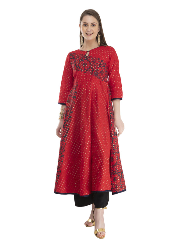 Modern Red Cotton Anarkali with Ajrakh Hand Block Print