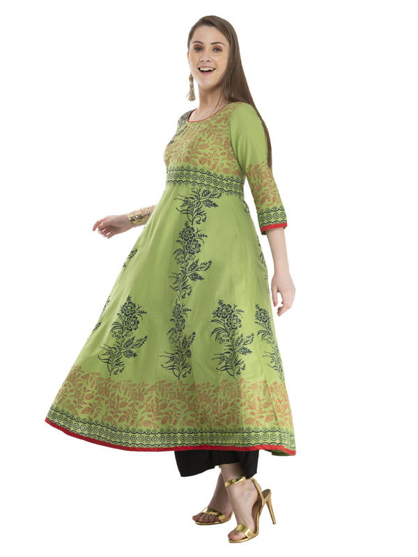 Pastel Green Minimal Cotton Anarkali with Ajrakh Hand Block Print