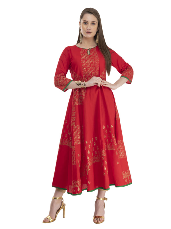 Minimal Red Cotton Anarkali with Ajrakh Hand Block Print