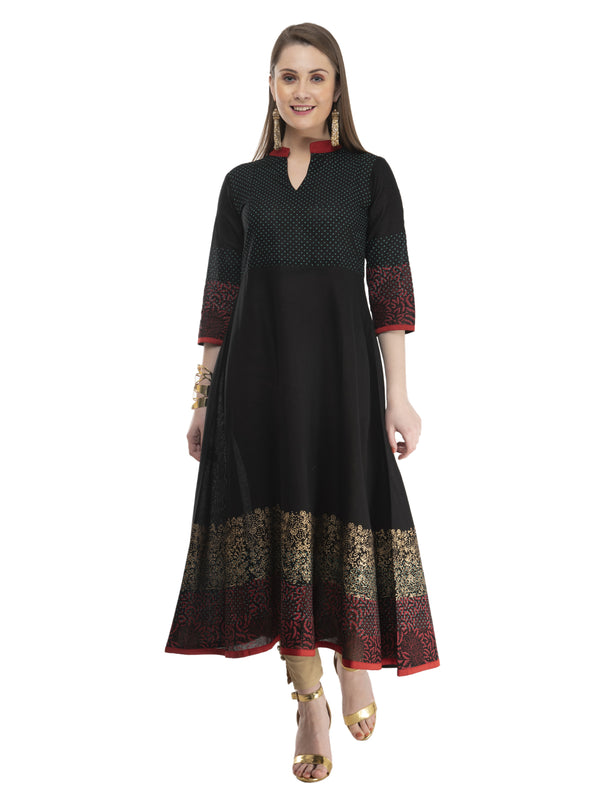 Modern Black Cotton Anarkali with Ajrakh Hand Block Golden Foil Print