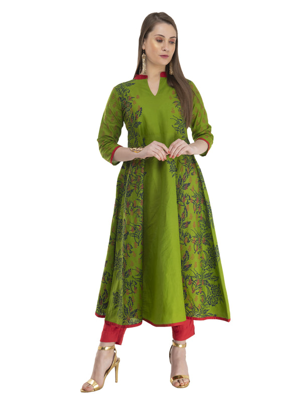 Olive Green panel illusion Cotton Anarkali With Ajrakh Hand Block Golden Foil Print