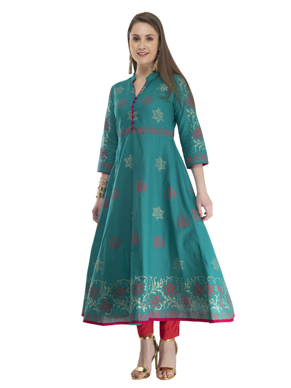 Turquoise & red Ajrakh Hand Block Cotton Printed Anarkali