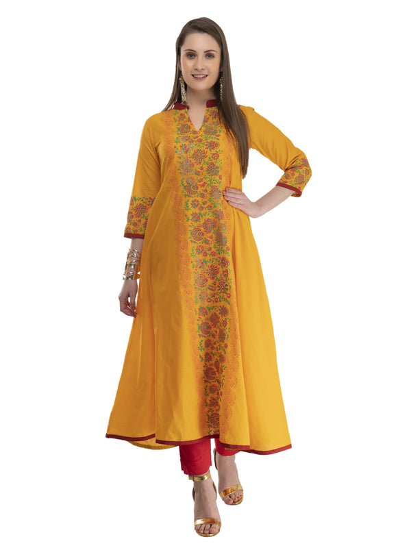 Mustard Ajrakh Hand Block Cotton Printed Anarkali