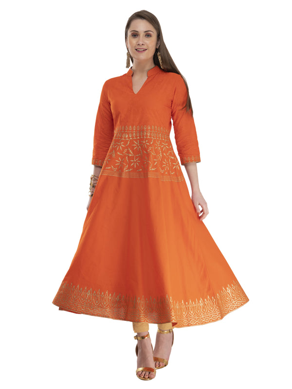 Subtle Orange Ajrakh Hand Block Cotton Anarkali with Turquoise Print