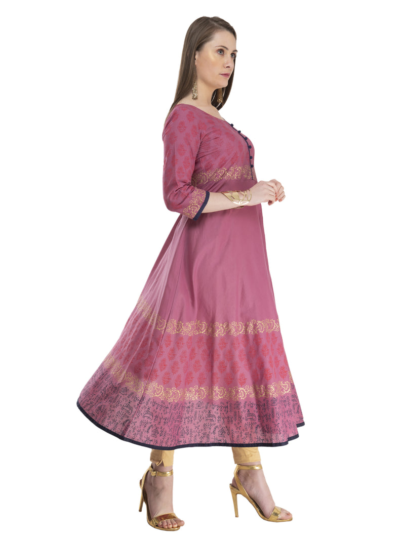 Traditional Mauve Cotton Anarkali with Ajrakh Hand Block Print