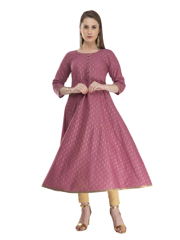 Mauve Cotton Anarkali with Overall  Ajrakh Hand Block Print